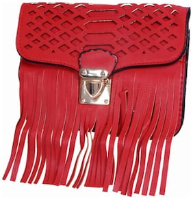 Ratash Red Faux Leather Solid Sling Bag