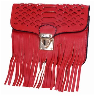 Ratash Women Solid Faux Leather - Sling Bag Red