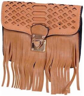 Ratash Women Solid Faux Leather - Sling Bag Beige