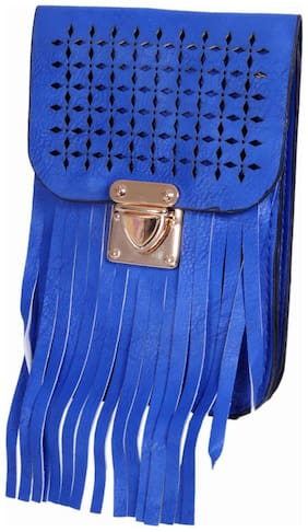Ratash Blue Faux Leather Solid Sling Bag