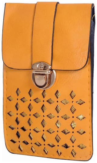 Ratash Yellow Faux Leather Solid Sling Bag