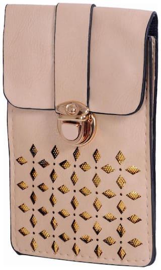 Ratash Women Solid Faux Leather - Sling Bag Beige