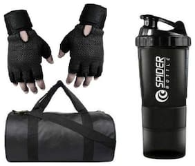RBB HUB Black Leather Gym Bag with Free Gloves and Spider Shaker Bottle Gym & Fitness Kit