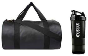 RBB HUB Black Gym Leather Bag with Free Spider Shaker Bottle Gym & Fitness Kit