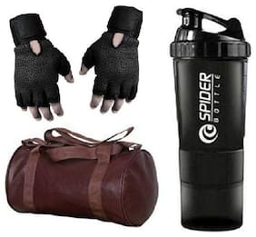 RBB HUB Brown Leather Gym Bag with Free Gloves and Spider Shaker Bottle Gym & Fitness Kit