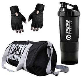 RBB HUB Polyester Body Building Gym Bag with Free Gloves and Spider Shaker Gym & Fitness Kit