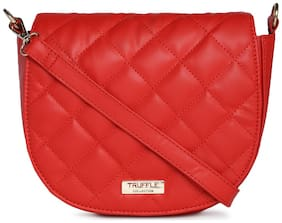 Truffle Collection Women Solid Pu - Sling Bag Red