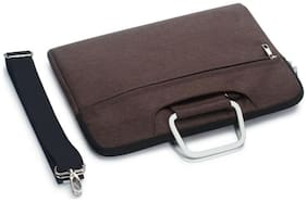 Redhot Laptop Bag 15.6 Inch with Shoulder Strap & Metal Carry Handle (Brown)