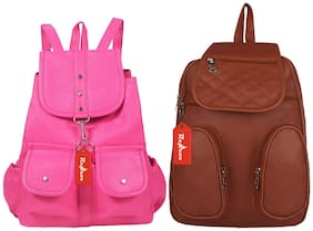 Reprox Brown & Pink PU Collage Backpack - (A-R)