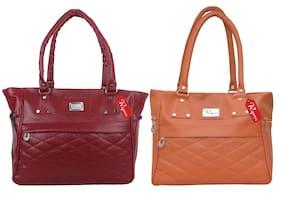 Reprox Maroon & Brown PU Shoulder Bag - Reprox