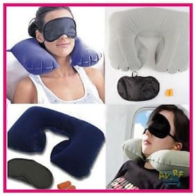 Right Traders 3in1 Sleeping Set Inflatable Travel Pillow Travel U Cushion Ear Plug Eye Mask Pair Earplugs