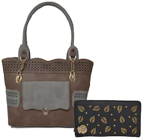 Rish Brown PU Handheld Bag