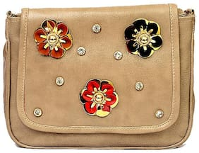 RISH cream colour floral patterned sling bag for women