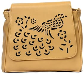RISH cream colour peacock design sling bag for women