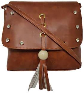 Rish Brown PU Textured Sling Bag