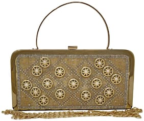 Rish Women Embellished Beaded - Clutch Gold