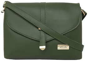 Rish Green PU Solid Sling Bag