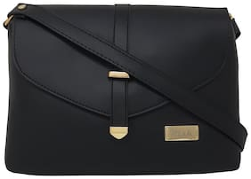 Rish Black PU Solid Sling Bag