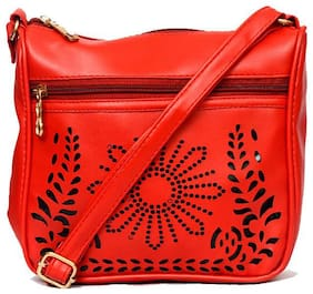 RISH red colour floral design sling bag for women