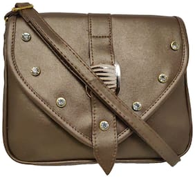 Rish Brown PU Textured Sling Bag