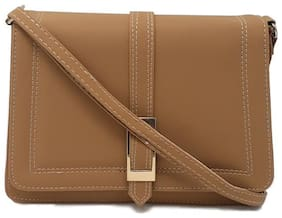 Rish Brown PU Solid Sling Bag