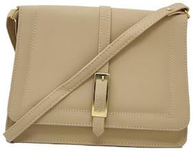 Rish Beige PU Solid Sling Bag