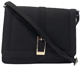 Rish Black PU Solid Sling Bag