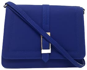 Rish Blue PU Solid Sling Bag
