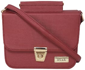 Rish Red PU Textured Sling Bag