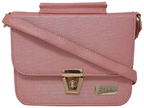 Rish Pink PU Textured Sling Bag