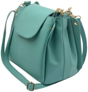 Roseberries Green PU Solid Sling Bag
