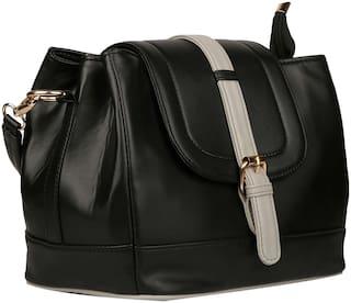 Roseberries Black & Grey PU Embellished Sling Bag