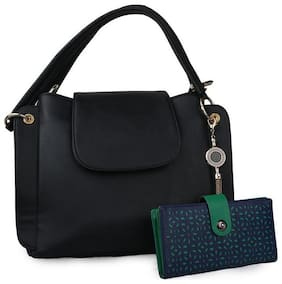ROSEBERRY Black PU Solid Sling Bag