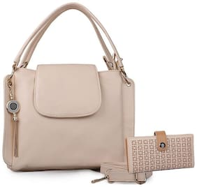 Roseberries Beige PU Solid Sling Bag