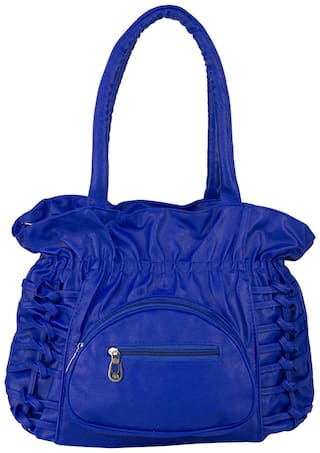 Rosemary Blue Faux Leather Handheld Bag