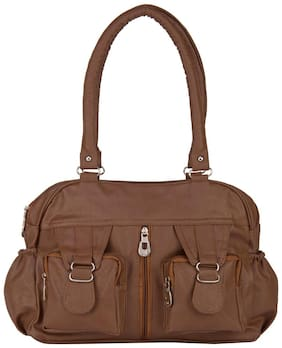 Rosemary Brown Faux Leather Handheld Bag