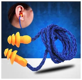 ROYALDEAL 100% BEST QUALITY OF Silicone Corded Ear Plugs - Reusable Hearing Protection Earplugs (Blue Rope-Orange Plug)
