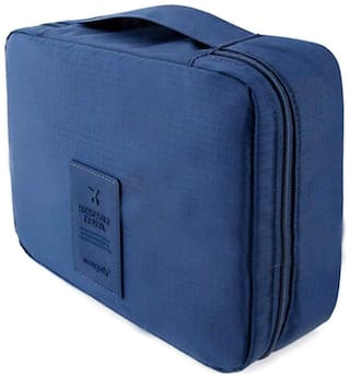 ROYALDEAL BY 100% BEST QUALITY TRAVELLING STORAGE BAG MAKEUP COSMESTIC KIT TRAVEL POUCH PORTABLE MULTI-LAYERS MESH,BATHROOM TOILETRIES WASH CASE ORGANIZER (NAVY BLUE)