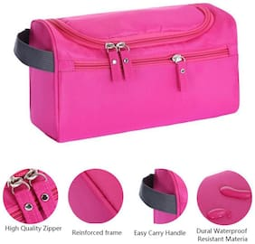 ROYALDEAL Hanging Travel Cosmetic Toiletry Pouch Bag Bathroom Storage Dopp Kit with Hook for Makeup Organizer & Shaving  Accessories Toiletries  for UNISEX (LIGHT PINK)