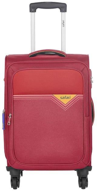 Safari Cabin Size Soft Luggage Bag ( Red , 4 Wheels )