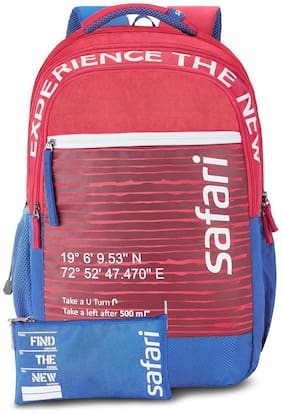 Safari GPS 3 Compartment School Backpack with Pencil Pouch (GPS19CBRED)