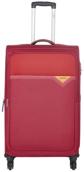 Safari Medium Size Soft Luggage Bag ( Red , 4 Wheels )