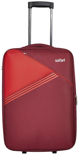 Safari Medium Size Soft Luggage Bag ( Red , 2 Wheels )