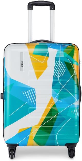 Safari Pride Large Size Hard Luggage Bag ( White , 4 Wheels )