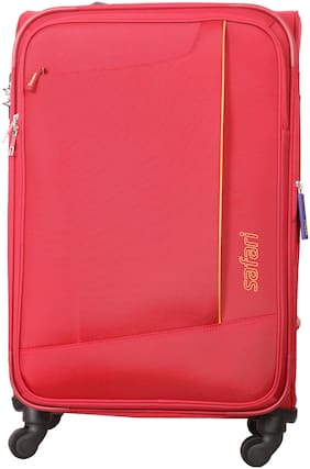 Safari Rush Medium Size Soft Luggage Bag ( Red , 4 Wheels )
