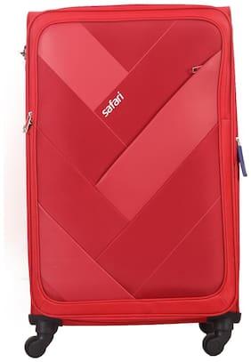 Safari Weave Large Size Soft Luggage Bag ( Red , 4 Wheels )