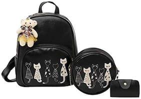 Salebox Fashion Girls 3-Pcs Fashion Cute Mini Leather Backpack Sling & Pouch Set For Women