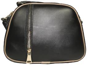 SaleBox Black PU Solid Sling Bag