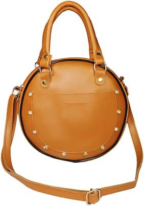 SaleBox Tan PU Solid Sling Bag