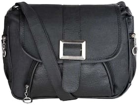 SaleBox Black PU Solid Sling Bag